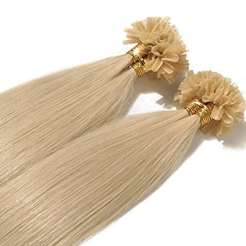 Extensions Echthaar Bondings 1g 100% Remy Echthaar Haarverlängerung Keratin Bonding 50 Strähnen 50cm (#613 hellblond)