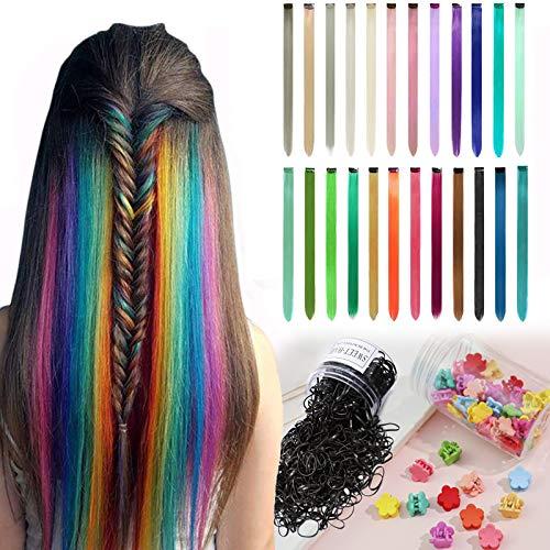 Kolorowe przedłużki do włosów, 24 kolory, kolorowe pasemka do włosów, gładkie, tęczowe, proste (DIY), Boże Narodzenie, dla dziewcząt, dzieci, syntetyczne włosy, 24 sztuki