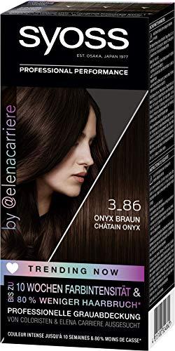 SYOSS Trending Now Coloration, Haarfarbe Stufe 3 3_86 Onyx Braun, von Coloristen & Elena Carriere ausgesucht, 3er Pack (3 x 115 ml)
