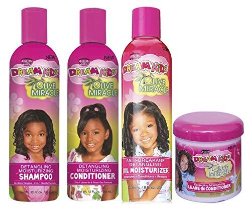 African Pride Dream Kids Olive Miracle | 4er-Set zur Haarentwirrung | Entwirrendes Shampoo, 355 ml | Entwirrende Spülung, 355 ml | Feuchtigkeitsspendendes Öl, 236 ml | Leave-In-Spülung, 425 g |