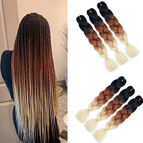 Ombre Braiding Hair (Black-Brown-Blonde) Kunsthaar Heat Resistant Braiding Haar for Crochet Box Zöpfe 100 g/pcs 60 cm