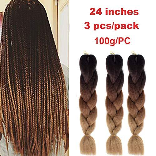 Kanekalon Ombre Schwarz Flechtenhaar 24', Showjarlly Ombre Jumbo Braid Haarverlängerung Hochtemperaturfaser (24' -60cm,1B/Dark Brown/Light Brown)