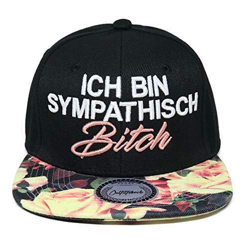Outfitfabrik Snapback Cap Stickerei Ich Bin sympathisch Bitch (Flower)