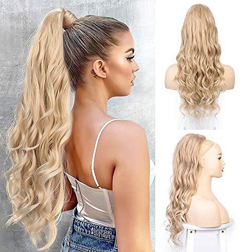 Pferdeschwanz haarteil clip extension mit Kordelzug lang Haarverlängerunge extension Perücke Natürliches Blond Afro Lockige Ponytail fuer zopf 24/613 /ca.63cm VD063J