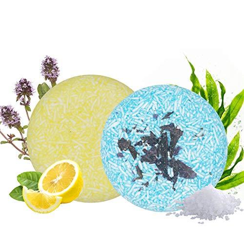 100% Vegan Shampoo Bar fürs Haar 2 Stücke Festes Shampoo HaarseifeNaturkosmetik für Behandeltes Trockenes Geschädigtes Haar für Damen Herren (Lemon & Seaweed)
