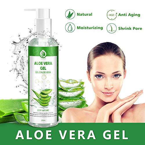 Aloe Vera Gel 100% Pur - für Gesicht, Haare und Körper - Natürliche, beruhigende und pflegende Feuchtigkeitscreme - Ideal für trockene, strapazierte Haut & Sonnenbrand - 250ml MEHRWEG