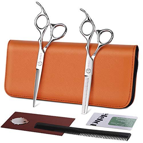 Haarschere Set Friseurscheren Effilierschere präziser Schnitt Edelstahl mit Lederetui zum Ausdünnen und gleichmäßigen Schneiden 17,2 cm von ELEHOT