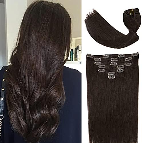 VARIO extensions echthaar clip in 70g 7pcs #2 Dark Brown Silky remy human Haarverlängerungen Geschenk für Freundin 45CM/18 Zoll