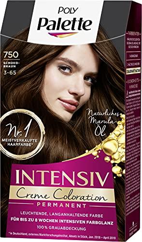 SCHWARZKOPF POLY PALETTE Intensiv Creme Coloration, Haarfarbe 750/3-65 Schokobraun, 3er Pack (3 x 128 ml)