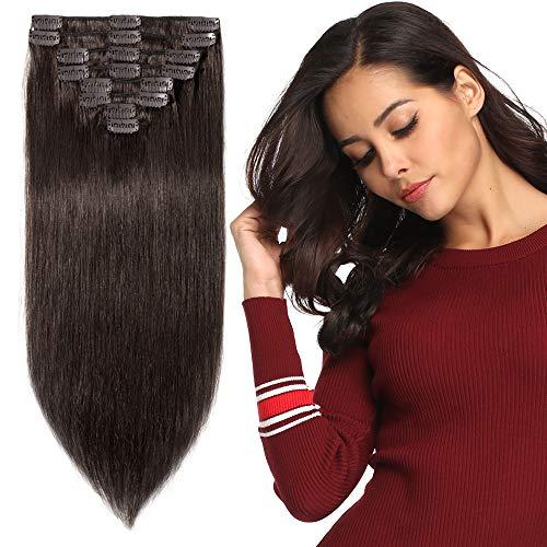Clip in Extensions Echthaar günstig Haarverlängerung Remy Echthaar 8 Tressen 18 Clips Glatt 25cm-75g(#2 Dunkelbraun)