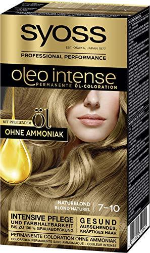 SYOSS Oleo Intense Permanente Öl-Coloration 7-10 Naturblond, mit pflegendem Öl & ohne Ammoniak, 3er Pack (3 x 115 ml)