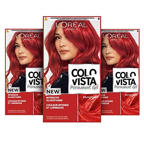 L'Oréal Paris Dauerhafte Haarfarbe, Gel-Coloration und Farb-Pflegemaske, Colovista Permanent Gel, Bright Red (Rot), 3 Stück