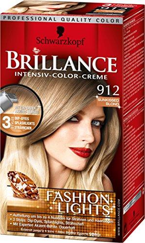 Brillance Intensiv-Color-Creme, 912 Sunkissed Blond Fashion Lights, 3er Pack (3 x 113 ml)