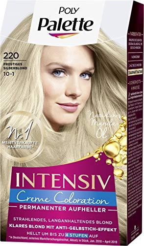 SCHWARZKOPF POLY PALETTE Intensiv Creme Coloration, Haarfarbe 220/10-1 Frostiges Silberblond, 3er Pack (3 x 115 ml)