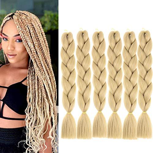 6 Packs Hair Jumbo Flechten Hair Extensions 24inch Braun Colorful Kunsthaar Heat Resistant Haar für Heimwerker Crochet Box Zöpfe Deep Braun Color 100 g/pcs 60 cm (#24)