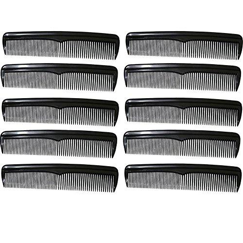 com-four® 10x Haarkamm, fein- und grobgezahnter Frisierkamm, handlicher und robuster Taschenkamm (010 Stück - schwarz)