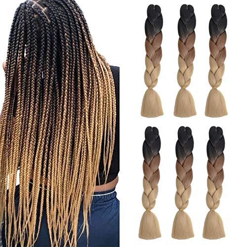 Pesonlook Synthetische Ombre Jumbo Flechten Haarverlängerungen mit drei Tönen (24 Zoll) 6er Pack