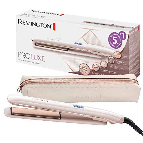 Remington Glätteisen PROluxe (OPTIheat-Technologie für lang anhaltende Styling-Ergebnisse in nur einem Zug & Ultimate-Glide-Keramikbeschichtung) LCD-Display, 150-230°C, Haarglätter S9100