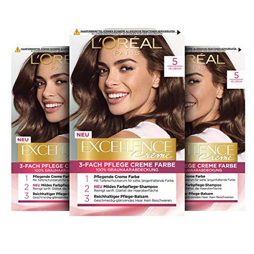 L'Oréal Paris Excellence Creme Permanente Haarfarbe, 100% Grauhaarabdeckung, Haarfärbeset mit Coloration, Shampoo und 3-fach Pflegecreme, 5 Hellbraun, 3 x 268 g