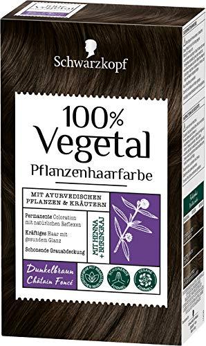 SCHWARZKOPF 100% VEGETAL Coloration, Haarfarbe Dunkelbraun Stufe 3, 3er Pack (3 x 80 ml)