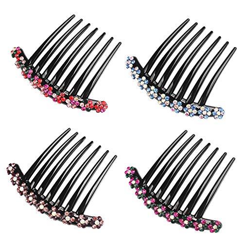 Haar Steckkamm 4 Stück Strass Zähne Haarkamm Haarschmuck Haarspange Kamm für Frauen Mädchen Geschenk, 4 Farben