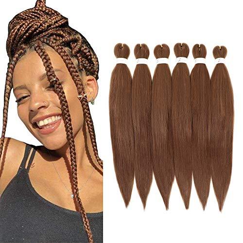 8 Packungen Pre-Stretched Braiding Haarverlängerung Ombre Natural Brown Professional Crochet Braiding Hair Synthetisches Flechthaar für Twist Braids(26Inch, 30)