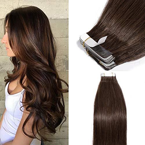TESS Tape Extensions Echthaar Dunkelbraun Klebeband günstig Haarverlängerung 16 inch 20 pcs Glatt Remy Tape in Hair Extensions (#2 40cm-50g)