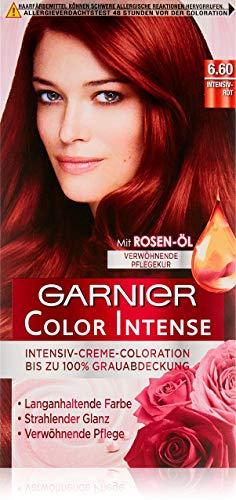 Garnier dauerhafte Coloration, Haarfarbe, für ein intensives, strahlendes Farbergebnis mit 100% Grauabdeckung, Color Intense, 6.60 intensivrot - 3 x 1 Stück