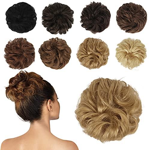 FESHFEN 100% Echthaar Haarteil Haargummi, lockige haarteile Haarknoten Haargummi Hochsteckfrisuren unordentlich dutt Haarteil Echthaar Haargummis für Damen Mädchen, Dunkel Ingwer Blond