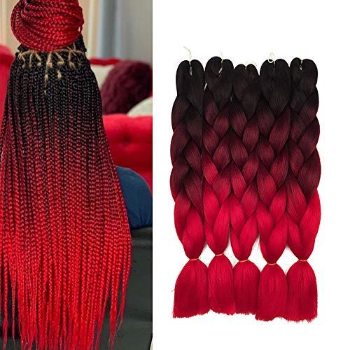6 Packs Ombre Red Jumbo Flechten Hair Extensions Braun Colorful Kunsthaar Kanekalon Haar für Heimwerker Crochet Box Zöpfe Deep Haar Extension 24' 100g (ombre red)