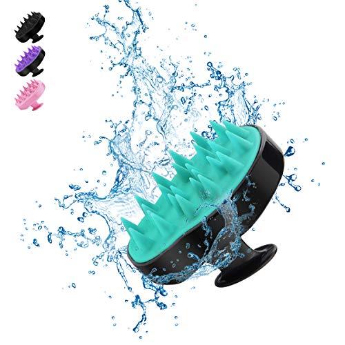 Kopfhaut Massage Bürste, BELICOO Massage Shampoo Pinsel, Silikon Kamm, für den Nass- und Trockengebrauch, für Zuhause/Büro/Erwachsene/Kinder/Haustiere (Schwarz-Hellgrün)
