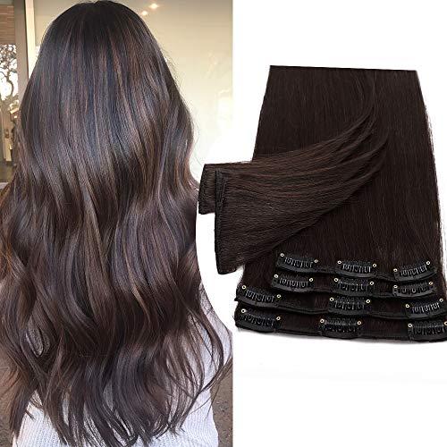 Extensions Echthaar Clip In 100% Remy Echthaar Haarverlängerungen Glatt 8 Tressen 18 Clips Dünn 50cm/70g (#2 dunkelbraun)