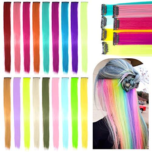Farbiger Haarverlängerung Clips, Multi-Farben Haarsträhnen, Regenbogen Farbe Gerade Synthetisch Haarteil für Mädchen und Kinder Haarteile Strähnchen Clip (18 Farben)