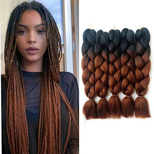 Jumbo Braid, 5pcs Ombre Jumbo Braiding Hair, Kanekalon Synthetic Braiding Haarverlängerungen, Jumbo Braids 24inch 5pcs / lot (Schwarz&dunkelbraun)