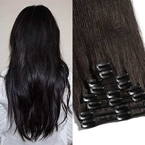 TESS Echthaar Extensions Clip in Haarteile Haarverlängerung Standard Weft Grad 7A Lang Glatt guenstig Remy Human Hair 8 Pcs 18 Clips 55cm-110g(#1B Naturschwarz)