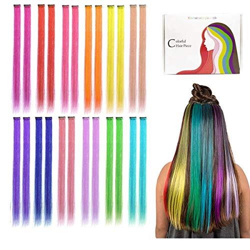 Kyerivs Farbiger Haarverlängerungs Clip Regenbogen Farbe Gerade Synthetisch Haarteil für Mädchen und Kinder Strähnchen Clip Idee Weihnachts-geschenk für Mädchen Kinder 12 Farben in 24 pcs