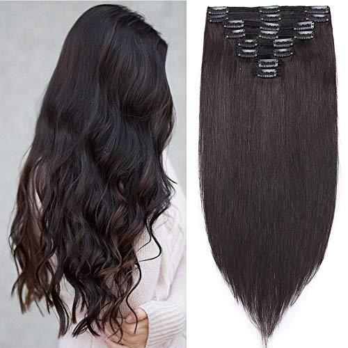Clip in Extensions Echthaar Haarverlängerung Haarteil Doppelt 8 Tressen hitzebeständig glatt Naturschwarz #1B 14'(35cm)-120g