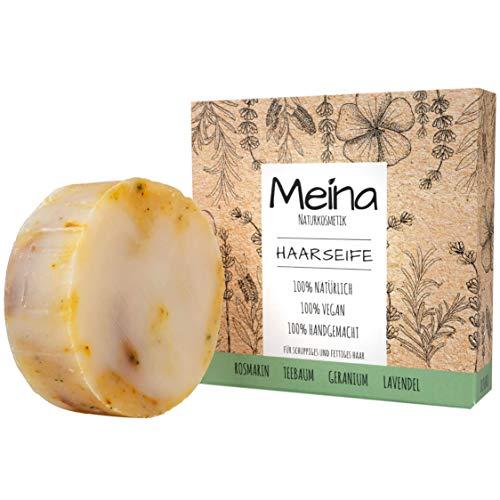 Meina - Bio Haarseife Naturkosmetik für fettiges Haar, Vegan Shampoo Bar mit Teebaum gegen Schuppen, festes Shampoo - Palmölfrei, Plastikfrei (1 x 80 g)