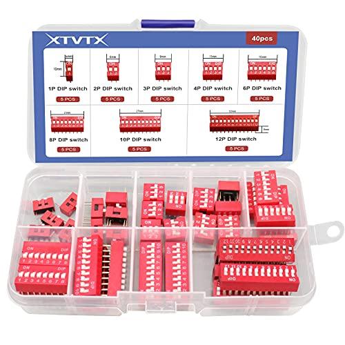 XTVTX 40 Stück Zweireihiger Dip-Schalter 1 2 3 4 6 8 10 12Pin 2,54 mm Folientyp Roter Kippschalter PCB-Ein-Aus-Schalter für Leiterplatten und Arduino