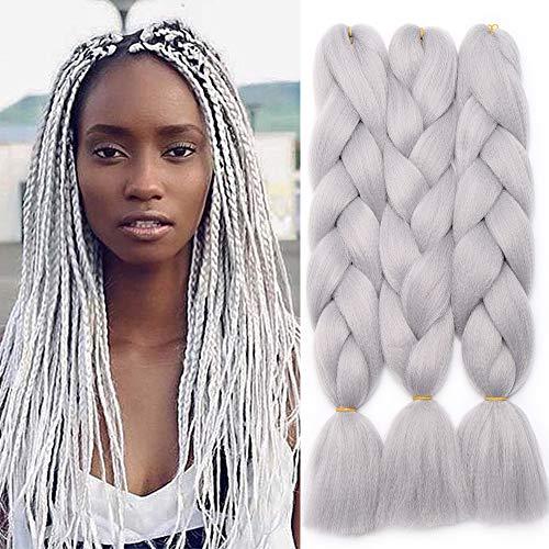 TESS 24' Braids Extensions Kunsthaar Crochet Jumbo Braids Synthetik Braiding Hair Ombre 1Pcs 100g/Bündel 60cm Silbrig Weiß Extensions