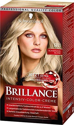 Schwarzkopf Brillance Intensiv-Color-Creme, 811 Scandinavia Blond Stufe 3, 3er Pack (3 x 143 ml)