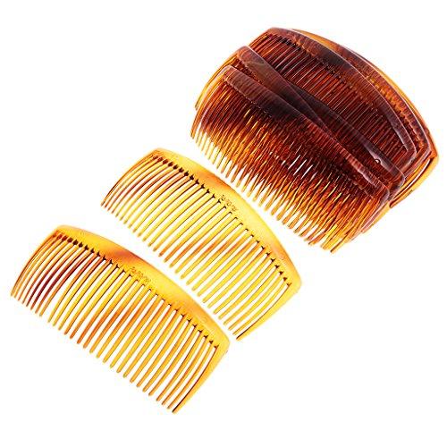 Hellery 12pcs Braun Schwarzes Haar Kamm Großer Kunststoff 11x4.5cm Langes Haar Zubehör Seitliche Clips - Braun
