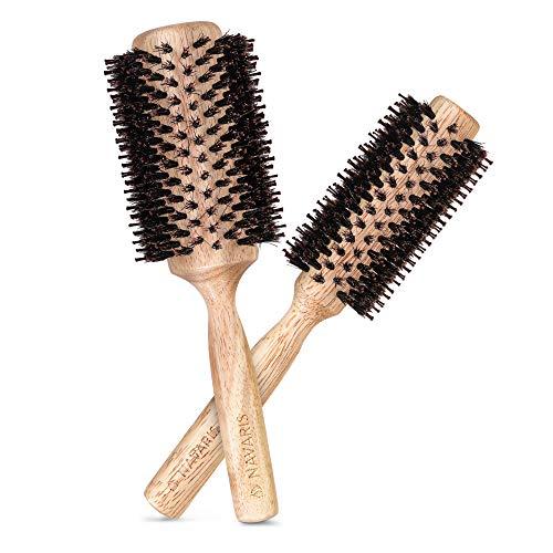 Navaris Rundbürste Haarbürste Bürste mit Wildschweinborsten - 2-teiliges Set Rundbürsten mit Naturborsten - Bürsten aus Holz - antistatisch