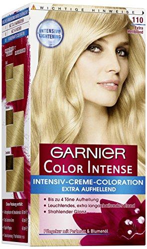 Garnier Color Intense, 110 Extra Hellblond / Dauerhafte Intensive Creme Coloration für permanente Haarfarbe (mit Perlmutt und Traubenkernöl) 1 Stück