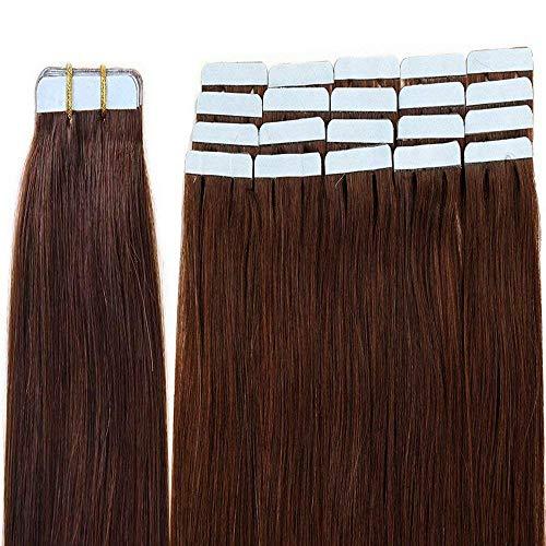 Tape Extensions Echthaar 40 Tressen Haarverlängerung Echthaar Extensions Tape In Mittelbraun #04 Glatt 100g (20zoll-50cm)