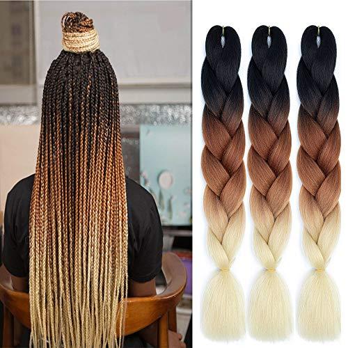 kunsthaar Ombre Jumbo Braiding Hair 3pcs Synthetic Ombre Jumbo Braid Kunsthaar For Crochet Twist Flechten Haar Extension (24inch, black-brown-blonde)