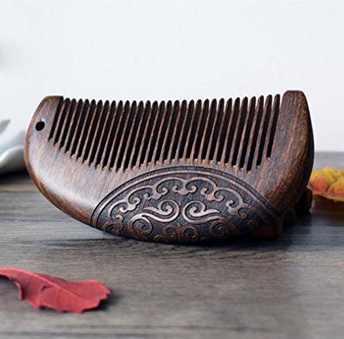 MINGZE Holzkamm Haarkamm, natürliches antistatisches Sandelholz hölzernes Haar Kamm, doppelseitiger geschnitzter Sandelholzkamm (12-1)