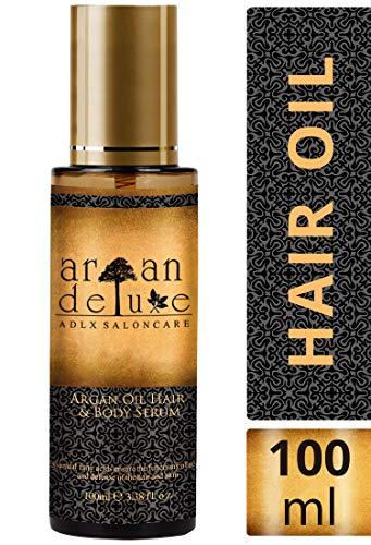 Argan Deluxe Haaröl in Friseur-Qualität 100 ml - Geschmeidigkeit, Glanz und toller Duft für Haare und Haut. Effektive Pflege für trockenes Haar und trockene Haut.