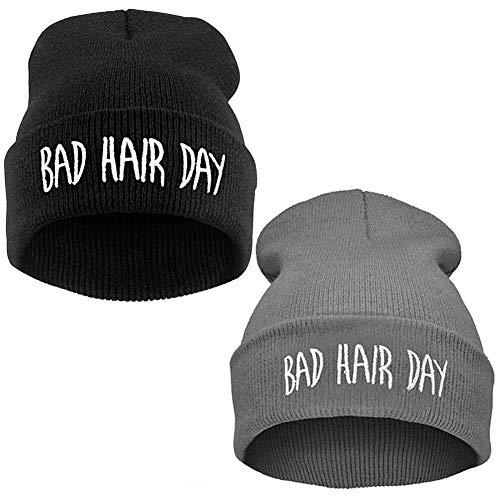 BESLIME Chwarze Mütze, Strickmützen für Damen, Bad Hair Day Mütze, Pissoir, Verschiedene warme Persönlichkeit,2pcs(Schwarz und Grau)