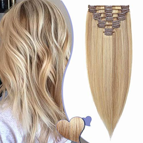 Elailite Haarverlängerung Echthaar Clip in Extensions Haarteil für Komplette Haare 8 Teilig Set 18 Clips Glatt Full Head Human Hair 8' 20cm 45g #18/613 Aschblond&Gebleichtes Blond